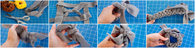 Step-by-step weaving fleece dog tug loop