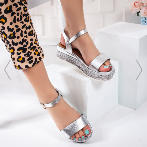 Sandale cu platforma dama argintii fashion modele nou 2020 la reducere