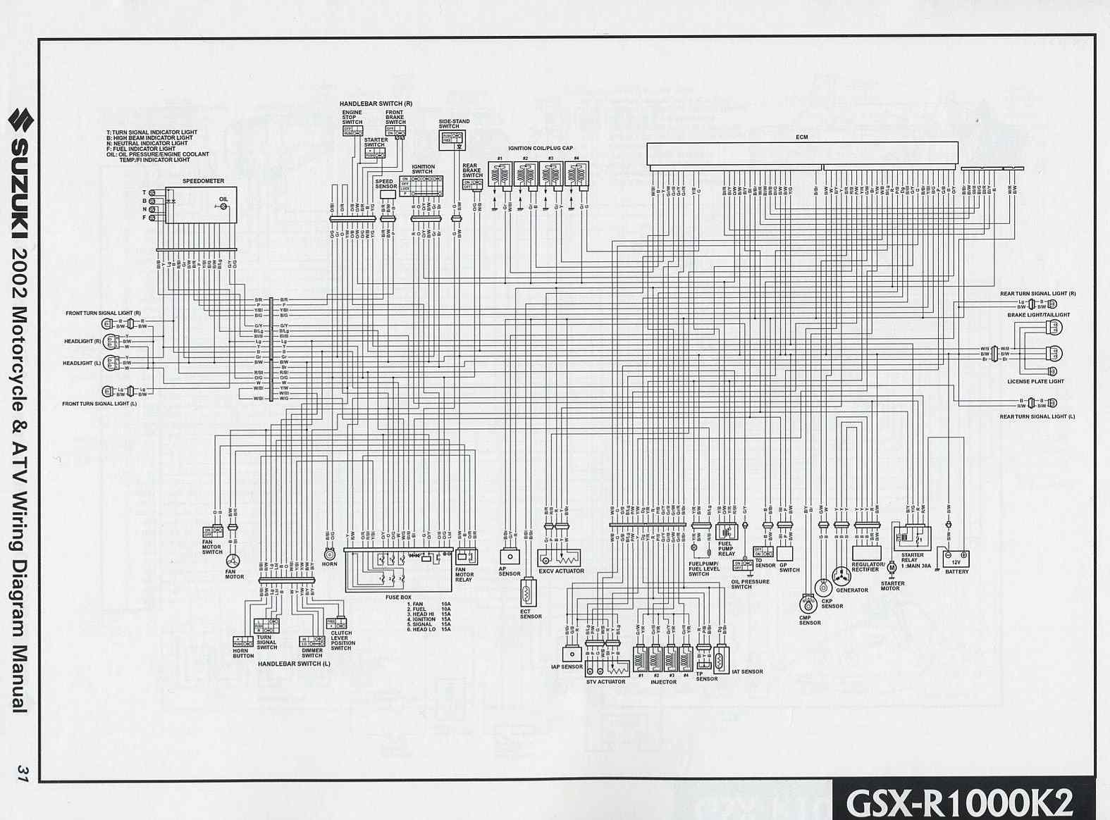 Suzuki GSXR1000 K2 2002 Motorcycle Wiring Diagram | All
