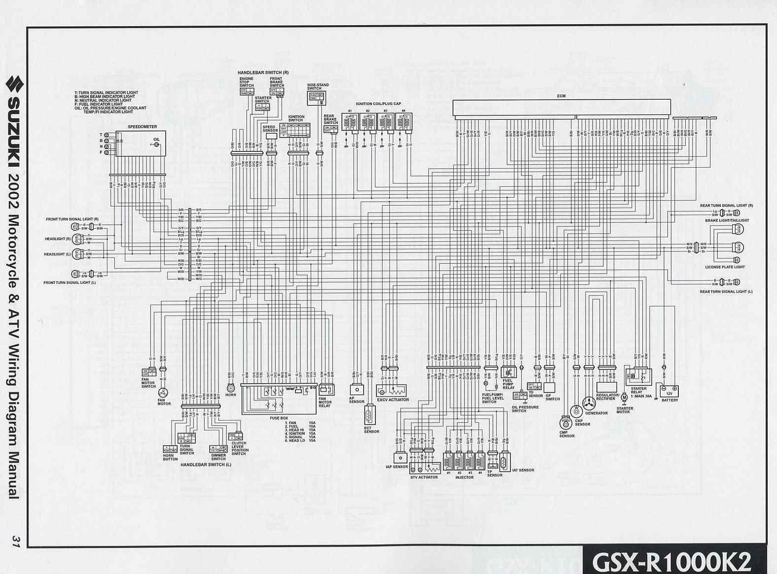 Suzuki GSXR1000 K2 2002 Motorcycle Wiring Diagram   All about Wiring Diagrams