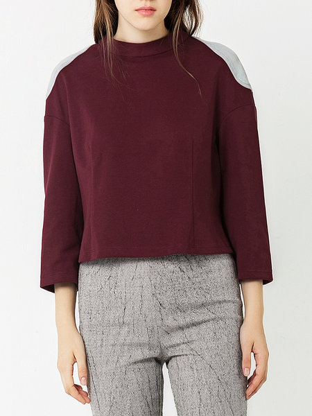 Burgundy Casual Stand Collar H-line Cotton-blend Cropped Top