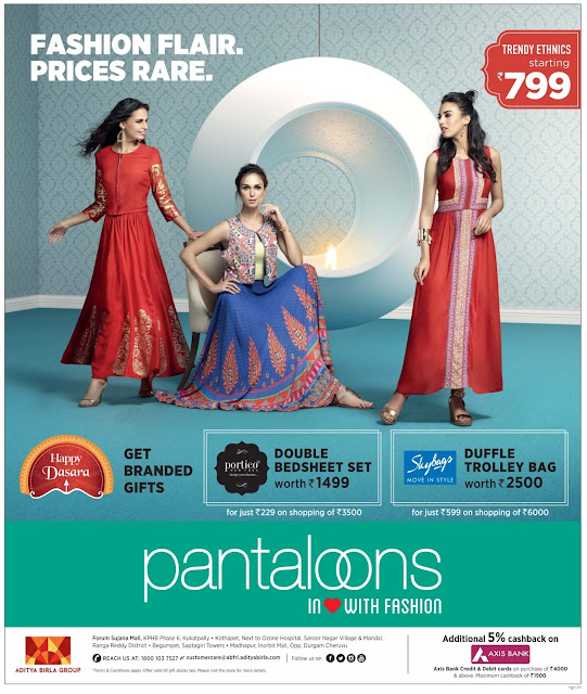 Trendy Ethnics offer in Pantaloon & Central| October 2016 discount offer | festival offer
