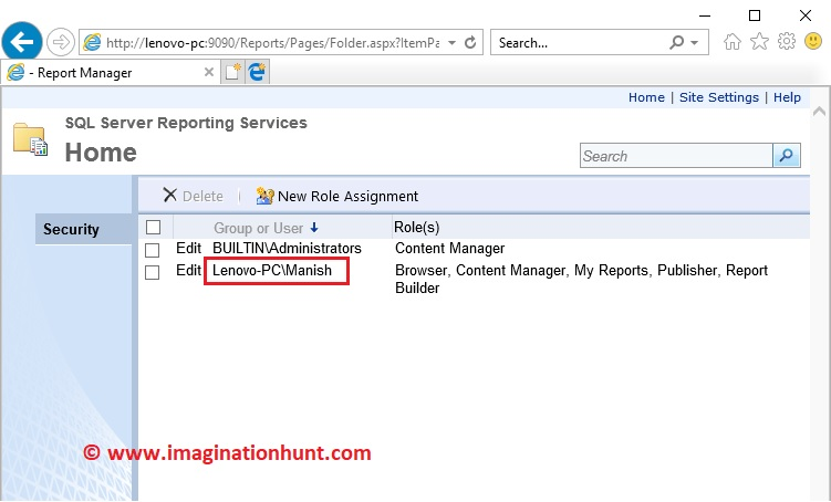Imagination Hunt: Configuration with SQL Server Reporting