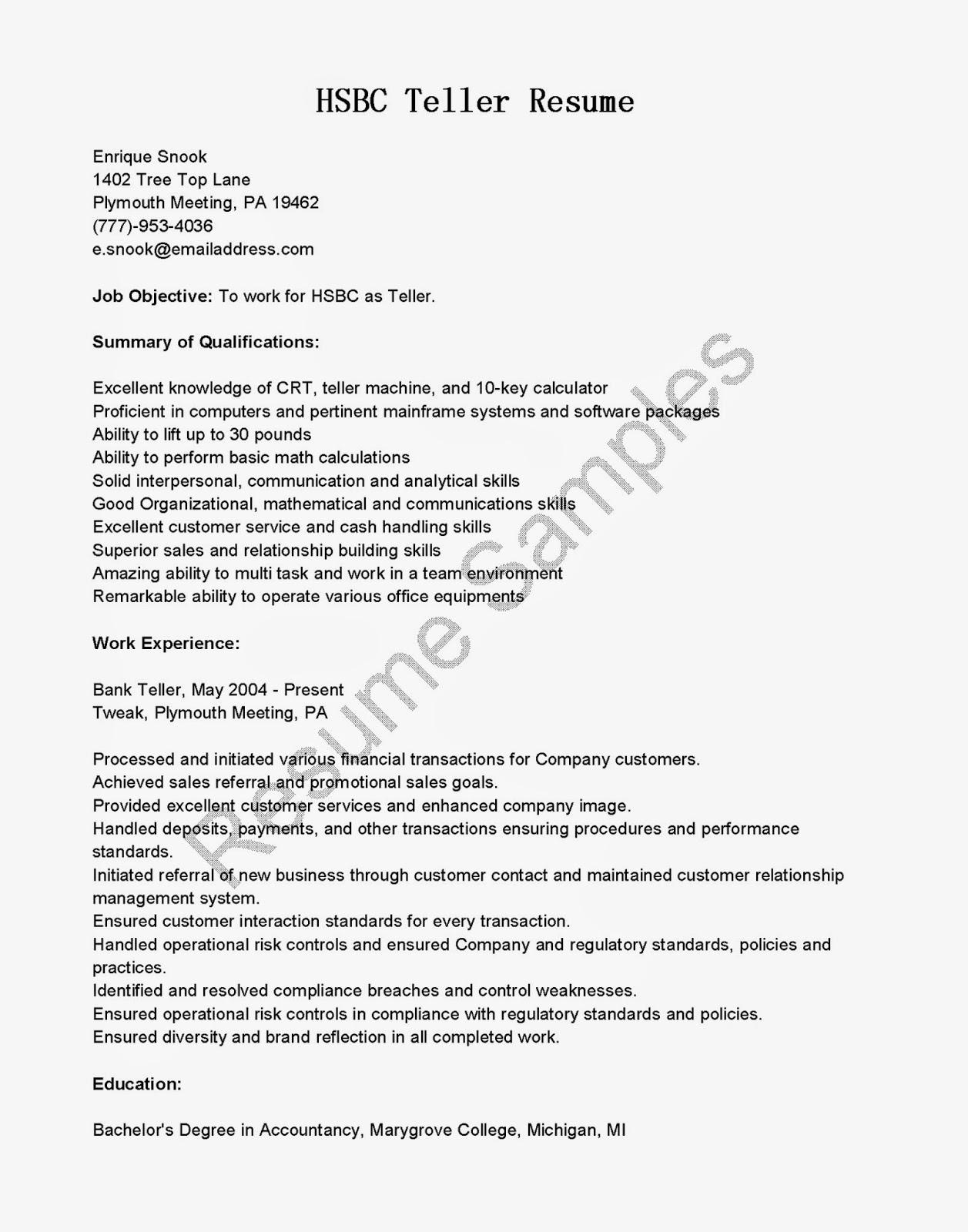 teller sample resume sample resume bank teller position lead teller sample resume sample bank teller sample resume