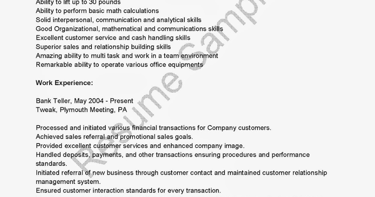 Teller Resume Sample. Resume Skills Best Sample Resume Bank Teller