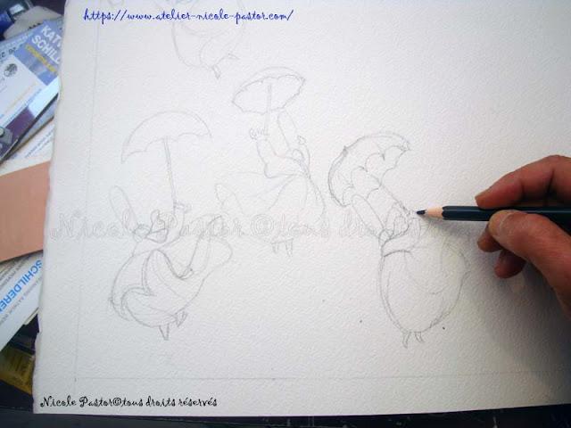 Un dessin de Bigoudenes en cours. Nicole Pastor