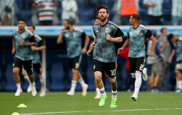 Lionel Messi of Argentina warms up prior to the 2018 FIFA World Cup Russia group D match between Nigeria and Argentina at Saint Petersburg Stadium on June 26, 2018 in Saint Petersburg, Russia.