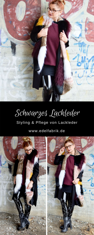 großer XXL Fakefur Schal mit Lackleder