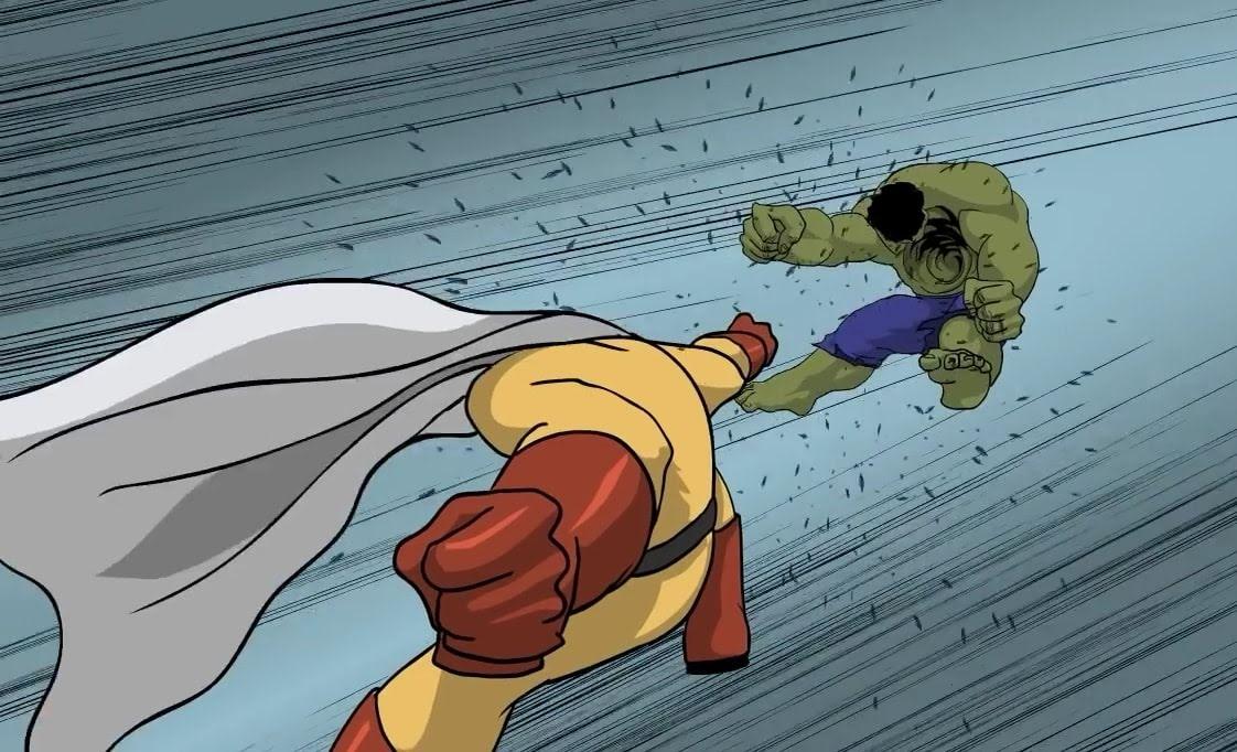 hulk vs one punch man 一撃では倒せないミドリのモンスターとワン