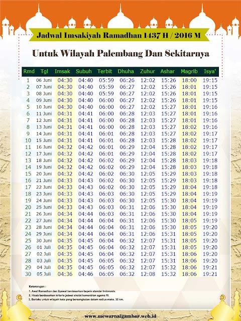 Jadwal Imsakiyah Palembang 1437 H