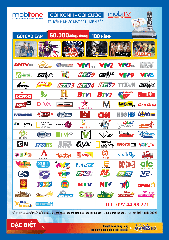 Danh sách kênh gói cao cấp