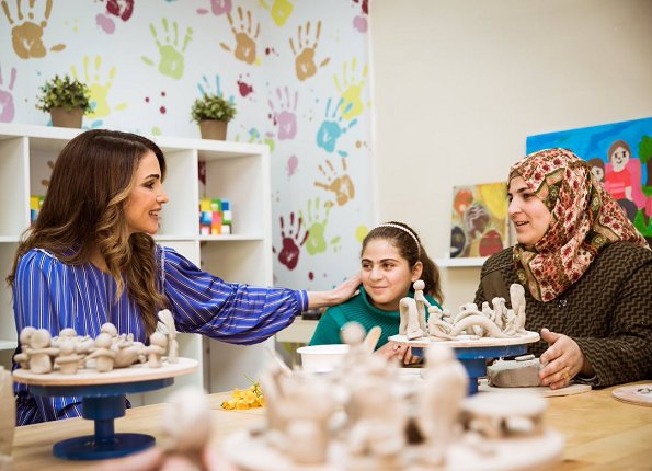 Queen Rania of Jordan visited the Queen Rania Family and Child Center (QRFCC)'s newest interactive programs for child and family welfare