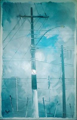 Poste Azul, acrílico s/ tela, de Clameli
