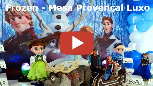 Decoração mesa de aniversário infantil tema Frozen provençal luxo