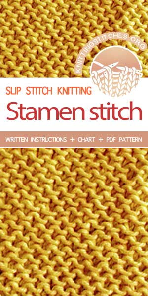 #KnittingStitches -- Free stitch patterns. The Art of Slip-Stitch Knitting, knit Stamen Stitch. #knitting #knittingpattern #knittingstitches