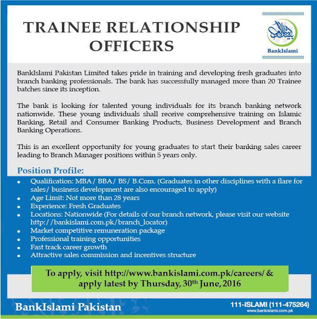 Jobs in Bank Islami Jobs 2016 Trainee Relationship Officers Jobs