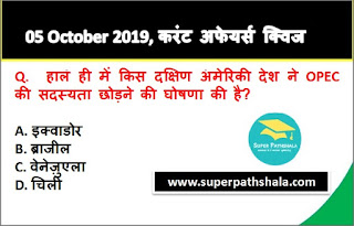 Daily Current Affairs Quiz 05 October 2019 in Hindi