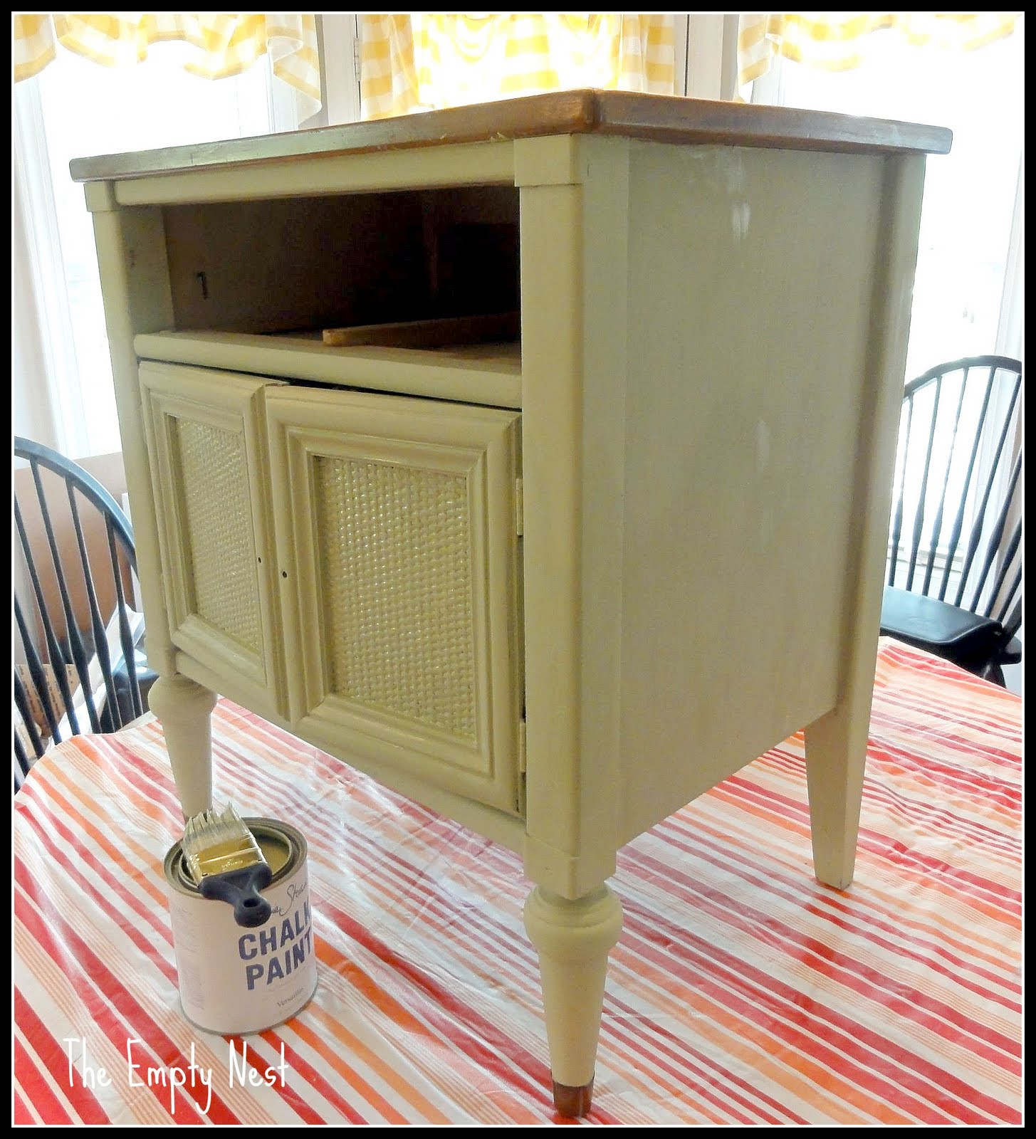 So To Start The Makeover Process, I Gave The Pieces A Coat Of Annie Sloan  Versailles Chalk Paint.