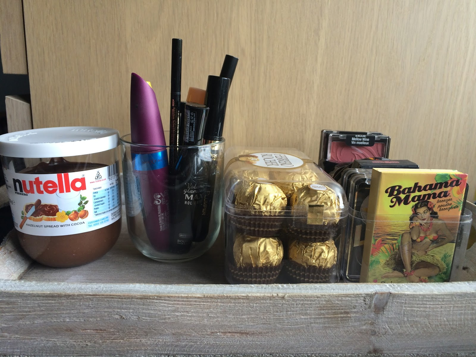 nutella glass ferrero rocher storage makeup alternative