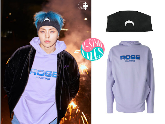 2ed8c90a9 Xiumin is wearing  embroidered half moon headband from Marine Serre logo  patch hooded sweatshirt from Martine Rose