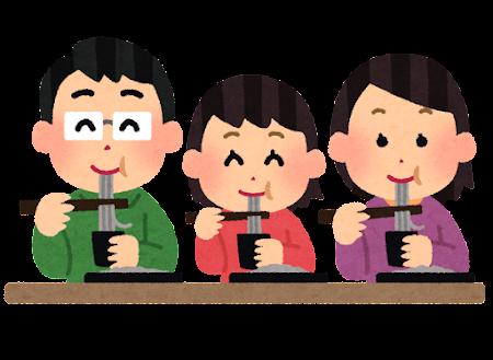 麺類を食べる家族のイラスト(ざる蕎麦)