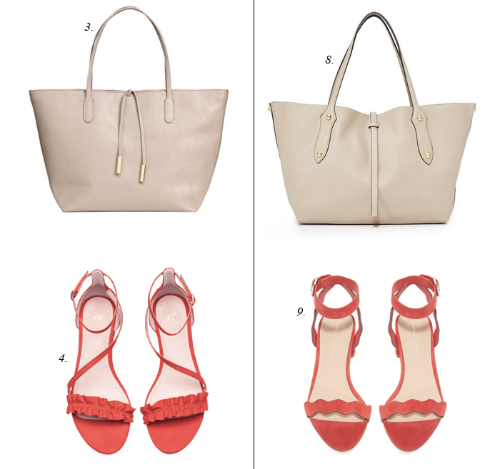 red sandals summer tote
