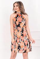 Rochie de vara din satin cu imprimeu portocaliu • InPuff