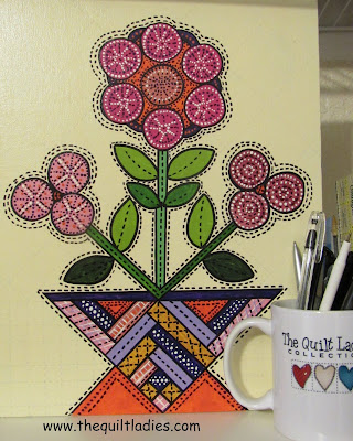 Baskets of Applique Flowers Pattern done with Paint by The Quilt Ladies
