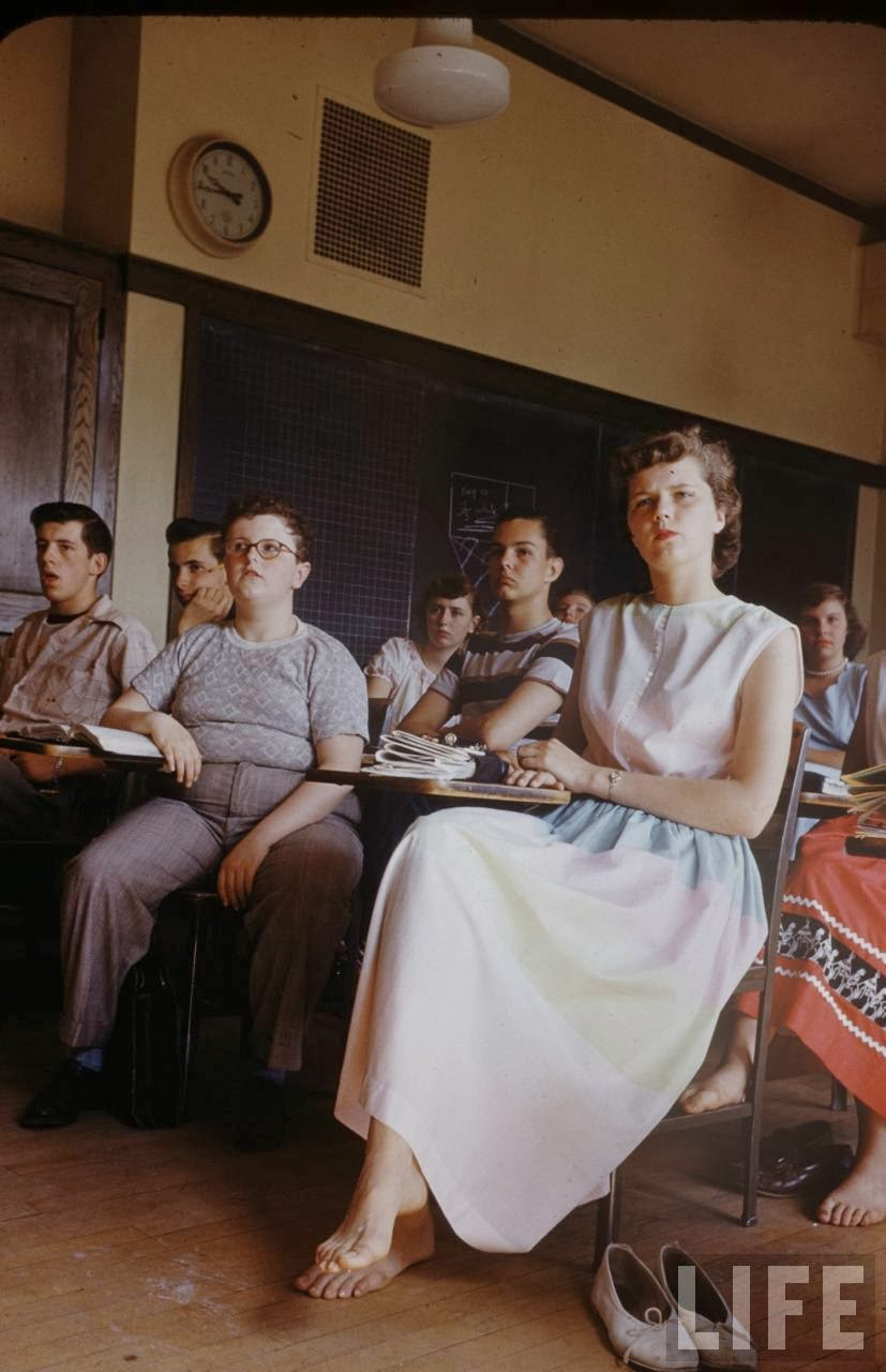 interesting color photographs capture daily life of students at new trier high school in 1950