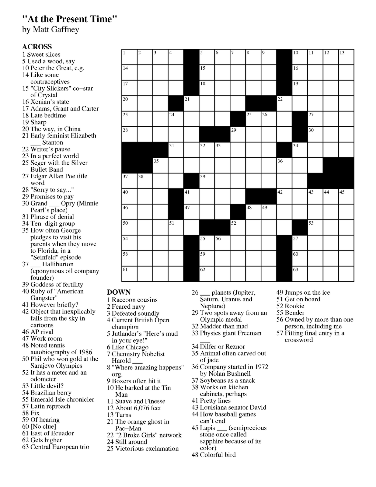 Matt Gaffney S Weekly Crossword Contest Mgwcc 221 Friday August 24th At The