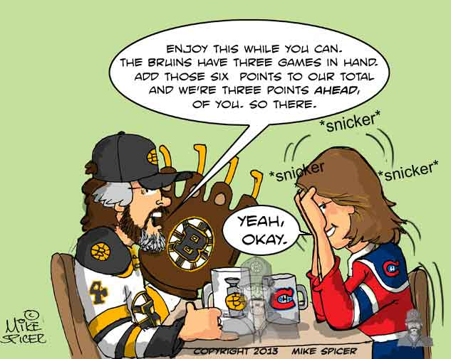HABS BRUINS23 mike spicer cartoonist caricaturist go bruins !!! pleeeeeeease !!!