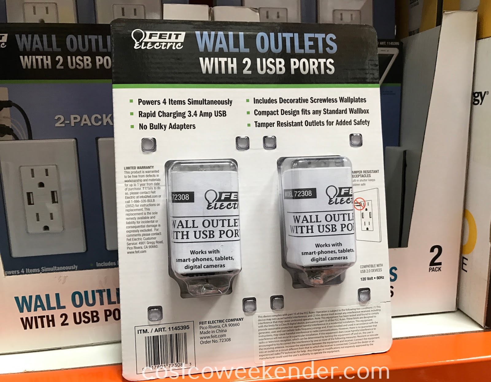 Costco 1145395 - Feit Electric Wall Outlets with USB Ports: never complain about not having a charger for your phone again