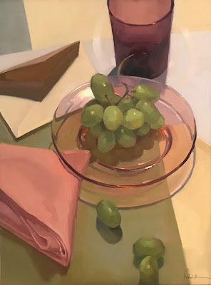 "still life oil painting grapes by sarah sedwick ""the letter"""