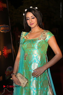 Actress Sanjjanaa Stills in Green Long Dress at Gemini TV Puraskaralu 2016 Event  0032.JPG