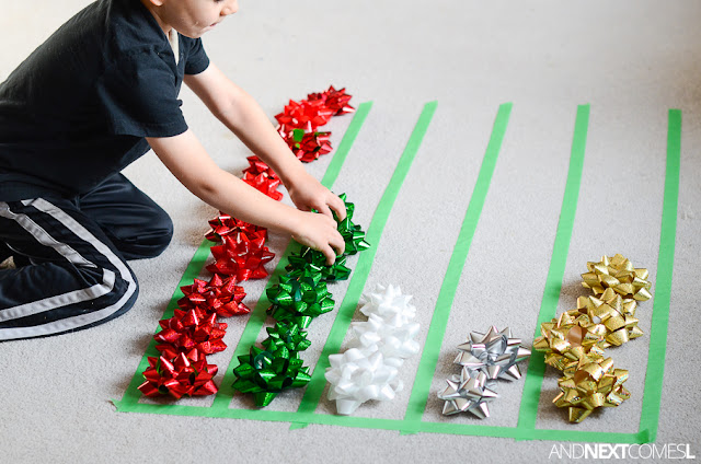 Christmas math activity for kids using gift bows from And Next Comes L