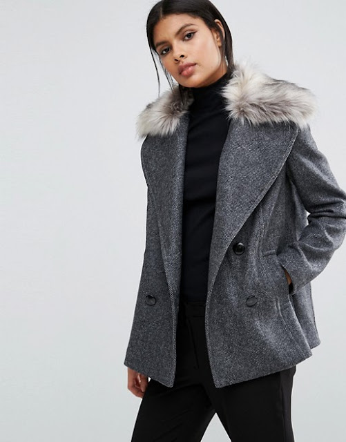 sisley winter coat, sisley fur collar coat,