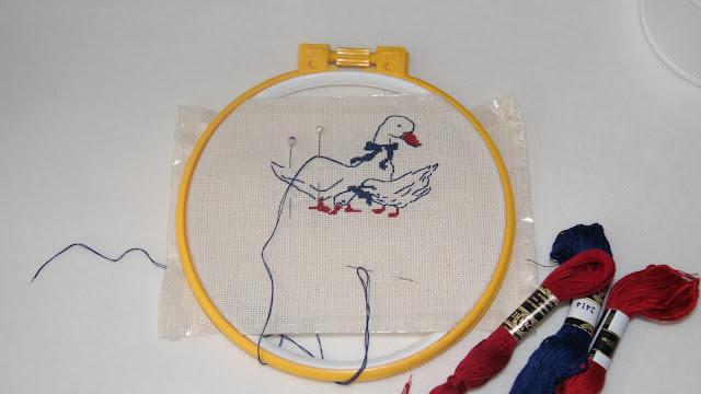 вышивка крестиком, вышитые птицы, вышивка крестиком, гуси, вышитые гуси, ручная вышивка