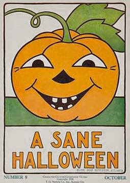 1932 vintage Halloween public service announcement poster featuring jack o'lantern with leaves and green grass