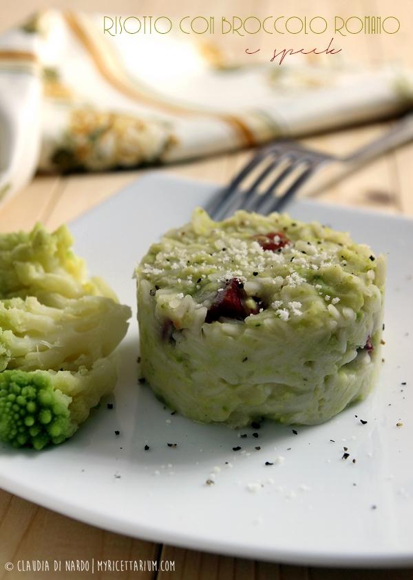 Risotto con broccolo romano e speck