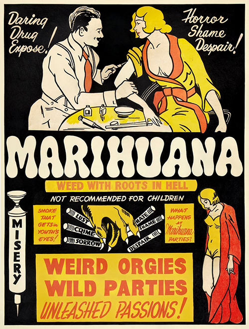 Marihuana, Funny Anti-Marijuanna Poster - Vintage Propagada Poster, advertising, classic posters, free download, free posters, free printable, graphic design, printables, retro prints, theater, vintage, vintage posters, vintage printables, marijuanna poster,