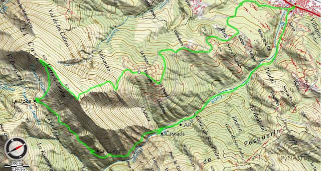 Mapa topográfico de La Ruta del Chorrón - Piloña - Asturias