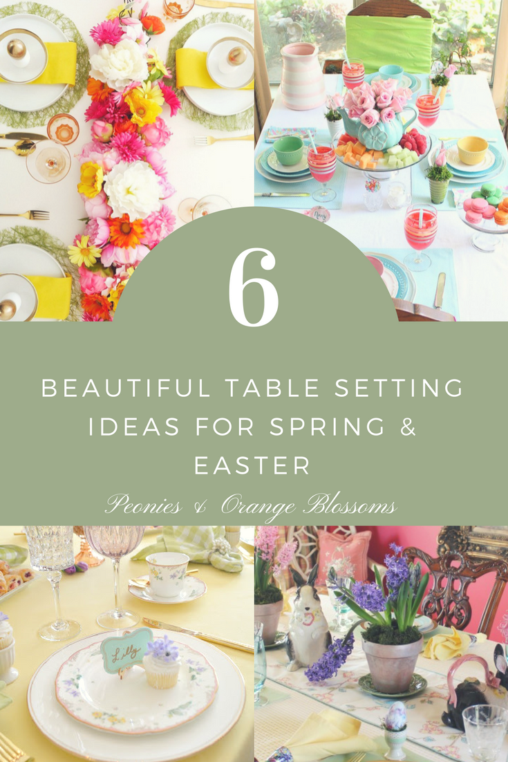 6 Spring and Easter Table Setting and Centerpiece Decor Ideas  sc 1 st  Petite Haus & 6 Beautiful Spring Table Setting Ideas - Petite Haus