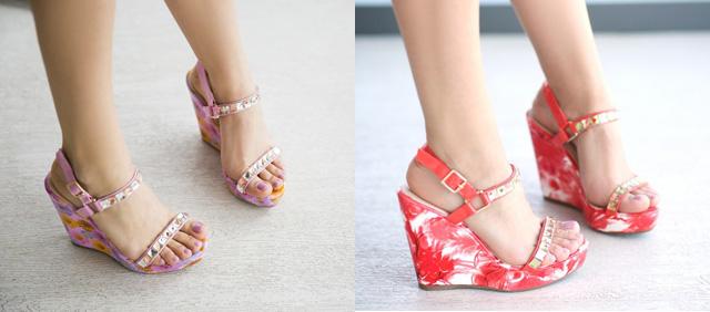 Sandale cu platforma ieftine de ara cu imprimeu cu flori