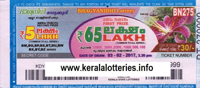 Kerala lottery result;t of Bhagyanidhi_BN-282 on 24 March 2017
