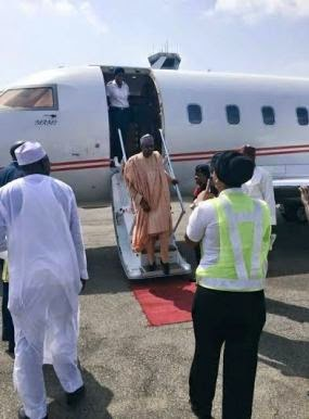 1 Photos: Buhari arrives Abuja to await declaration of results by INEC