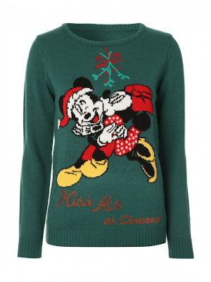 green jumper with Micky Mouse on it