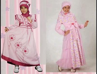 busana muslim warna pink yang lucu