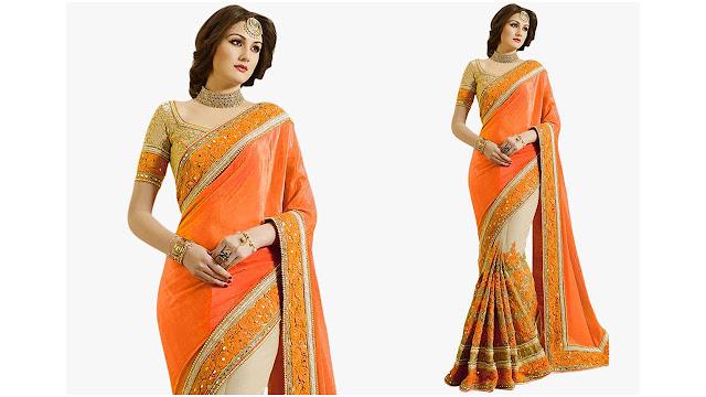 Pragati Fashion Hub Embroidered Fashion Satin, Net Saree  (Orange, Beige)
