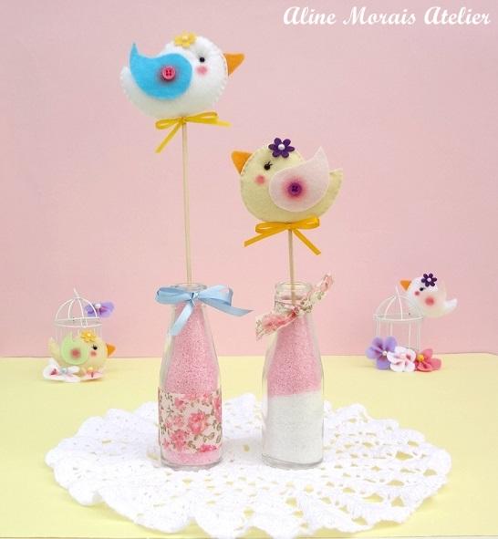 centro de mesa lembrança lembrancinha festa passarinho jardim encantado garrafa