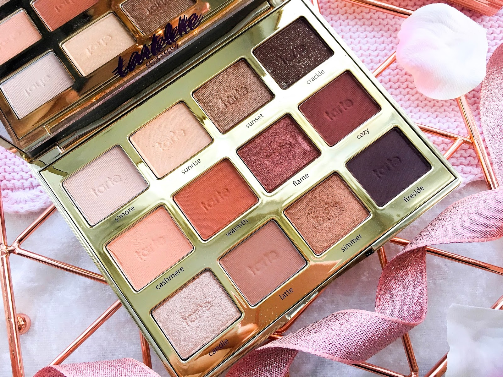 tarte toasted palette review, tarte eyeshadow palette, tarte tartelette toasted eyeshadow palette review swatches medium skin